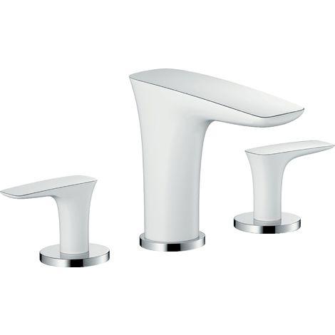 Hansgrohe PuraVida Mélangeur lavabo 3 trous DN15 avec vidage automatique, Coloris: Blanc / Chrome - 15063400
