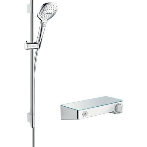 Hansgrohe Raindance Raindance Raindance Select E sistema de ducha de superficie 120 con ShowerTablet Select termostato y barra de ducha 65 cm, 27026, color: Cromado / Blanco - 27026400