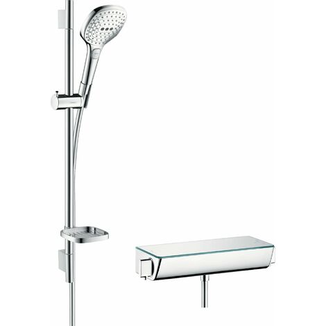 Hansgrohe Raindance Select Brausesystem Aufputz 120 mit Ecostat Select Thermostat und Brausestange 65 cm, 27038, Coloris: Chrome / Blanc - 27038400