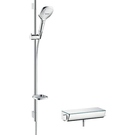 Hansgrohe Raindance Select Brausesystem Aufputz 120 mit Ecostat Select Thermostat und Brausestange 90 cm, 27039, Coloris: chrome - 27039000