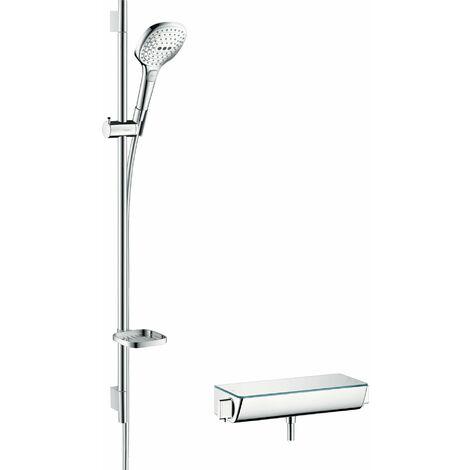 Hansgrohe Raindance Select Brausesystem Aufputz 120 mit Ecostat Select Thermostat und Brausestange 90 cm, 27039, Coloris: Chrome / Blanc - 27039400