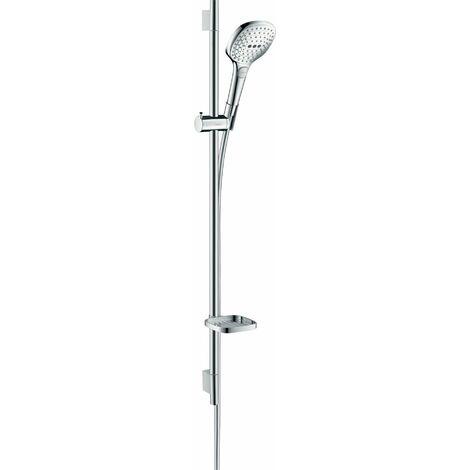 Hansgrohe Raindance Select E set de ducha 120 3jet con barra de ducha de 90 cm y jabonera, 26621, color: Cromado / Blanco - 26621400