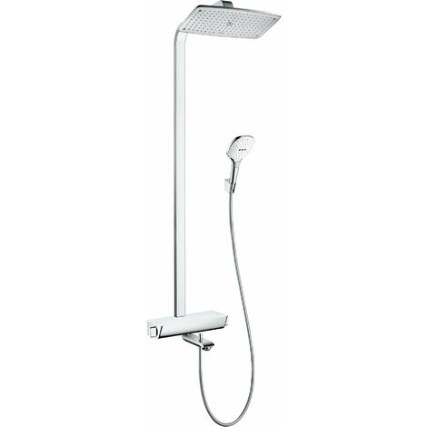 Hansgrohe Raindance Select E360 1 jet douchette, avec thermostat de bain, 27113, Coloris: Chrome / Blanc - 27113400
