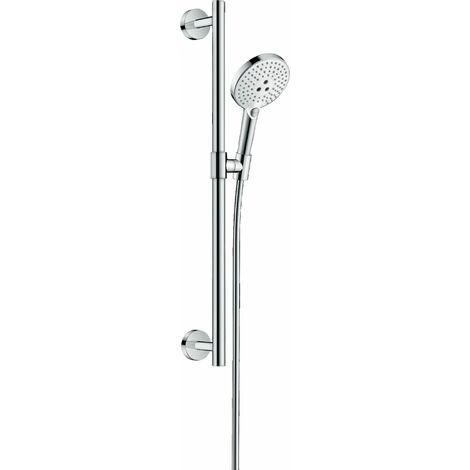 Hansgrohe Raindance Select S Ensemble de douche 120 3jet avec barre de douche 65 cm, 26320, Coloris: Blanc / Chrome - 26320400