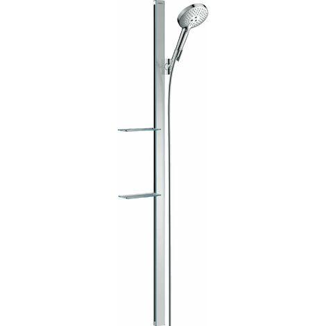 Hansgrohe Raindance Select S set de douche 120 3jet avec barre de douche de 150 cm et porte-savon, 27646, Coloris: Blanc / Chrome - 27646400