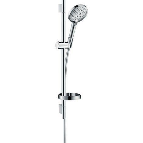 Hansgrohe Raindance Select S Set de ducha 120 3jet con barra de ducha de 65 cm y jabonera, 26630, color: cromado - 26630000