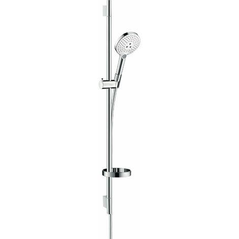 Hansgrohe Raindance Select S set de ducha 120 3jet con barra de ducha de 90 cm y jabonera, 26631, color: Cromado / Blanco - 26631400