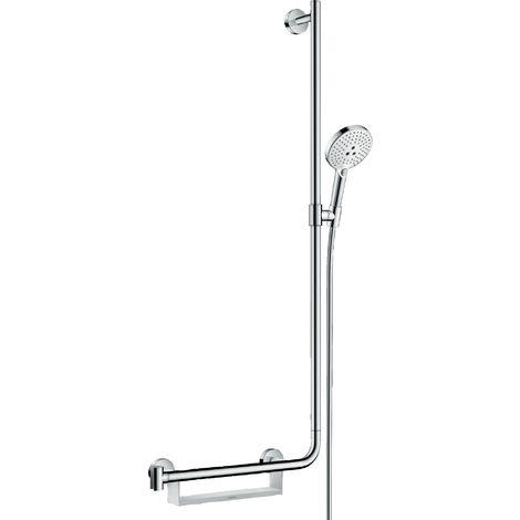 Hansgrohe Raindance Select S set de ducha 120 3jet EcoSmart con barra de ducha 110 cm derecha, 26327, color: Blanco / Cromo - 26327400