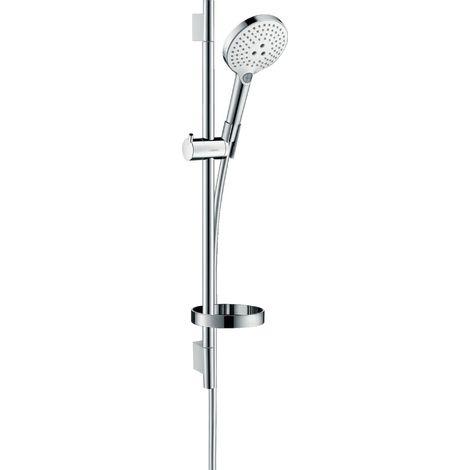 Hansgrohe Raindance Select S set de ducha 120 3jet EcoSmart con barra de ducha de 65 cm y jabonera, 26632, color: Cromado / Blanco - 26632400