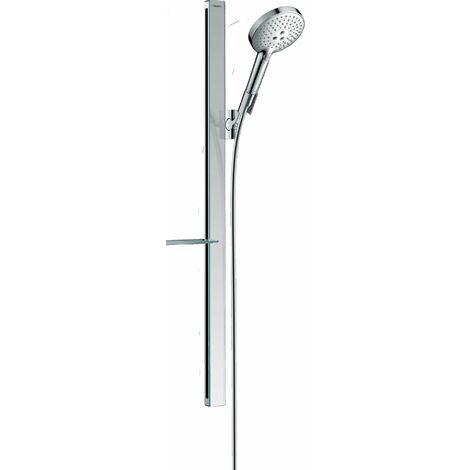 Hansgrohe Raindance Select S set de ducha 120 3jet EcoSmart con barra de ducha de 90 cm y jabonera, 27649, color: cromado - 27649000