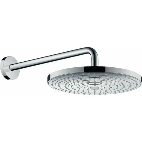 Hansgrohe Raindance Select S300 2 cabezales de ducha con brazo de ducha 390 mm, 27378, color: Cromado / Blanco - 27378400