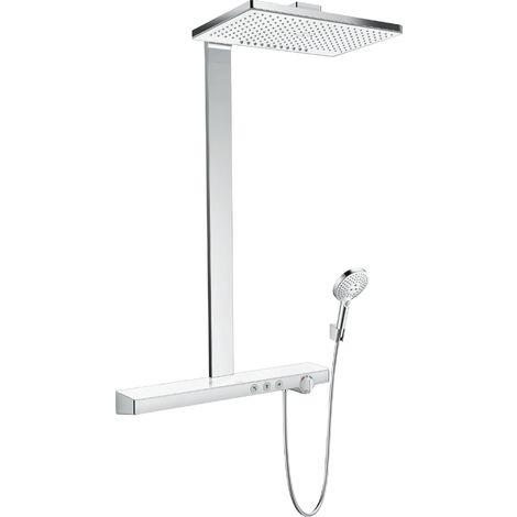 Hansgrohe Rainmaker Select Showerpipe 460 2jet EcoSmart con termostato, montaje en superficie, 3 consumidores, blanco/cromo - 27028400