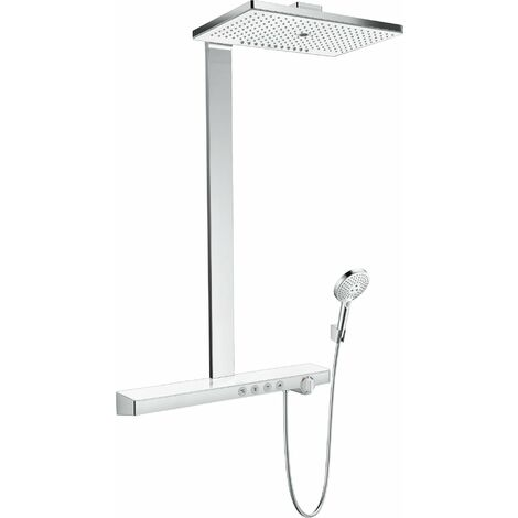 Hansgrohe Rainmaker Select Showerpipe 460 3jet avec thermostat, pour montage apparent, 4 consommateurs, blanc/chrome - 27106400