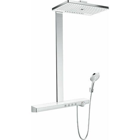 Hansgrohe Rainmaker Select Showerpipe 460 3jet EcoSmart con termostato, montaje en superficie, 4 consumidores, blanco/cromo - 27029400