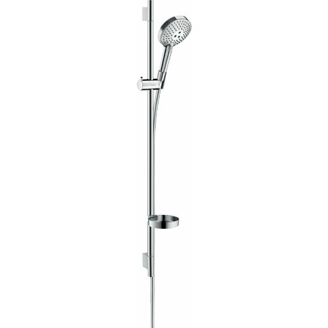 HANSGROHE Set de douche 120 3jet PowderRain avec barre Unica'S puro 90 cm et porte-savon chromé Raindance Select