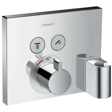 HANSGROHE Set finition Thermostatique HANSGROHE ShowerSelect E encastré 2 sorties, fixfit et support de douchette chromé