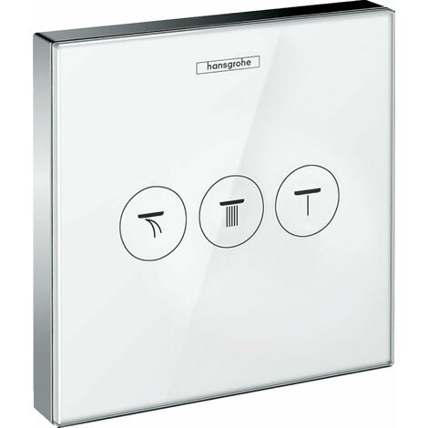 Hansgrohe Shower Shower Tablet ShowerSelect Glass Valve, empotrada, 3 consumidores, color: Cromado / Blanco - 15736400
