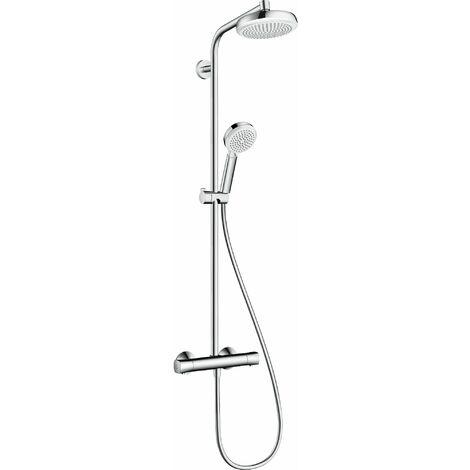 HANSGROHE Showerpipe 160 1jet avec mitigeur thermostatique blanc/chromé Crometta 160