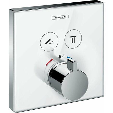 Hansgrohe ShowerSelect Set de finition en verre pour mitigeur thermostatique ShowerSelect E encastré avec 2 fonctions
