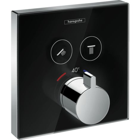 Hansgrohe ShowerTablet ShowerSelect glass thermostat, flush-mounted, 2 consumers