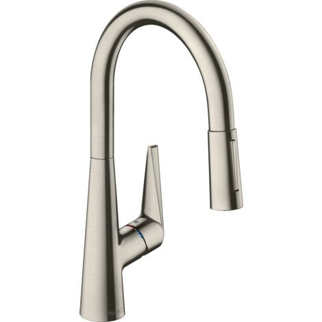Hansgrohe Talis S - Single lever sink mixer 200, with extensible spray, stainless steel look 72813800