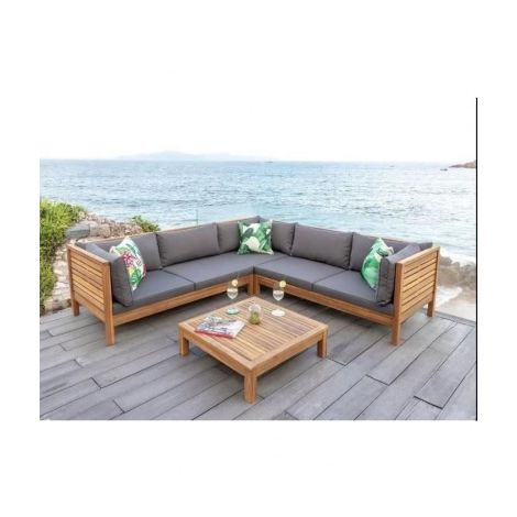 HAO Salon de jardin 5 places en bois deucalyptus - un canape ...
