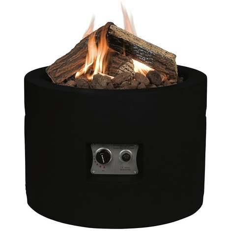 Happy Cocoon Round Gas Firepit Table Black