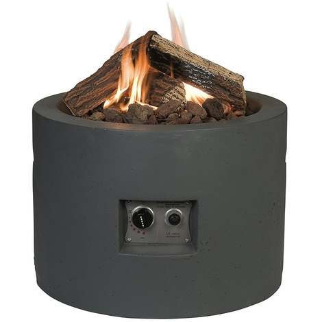 Happy Cocoon Round Gas Firepit Table Grey