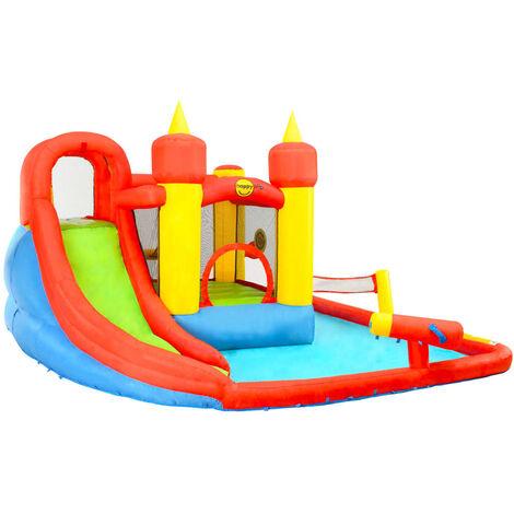 Happy Hop Castillo hinchable con tobogán y piscina 410x385x220 cm - Multicolor