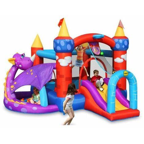 HAPPY HOP Château - Aire de jeux gonflable Dragon