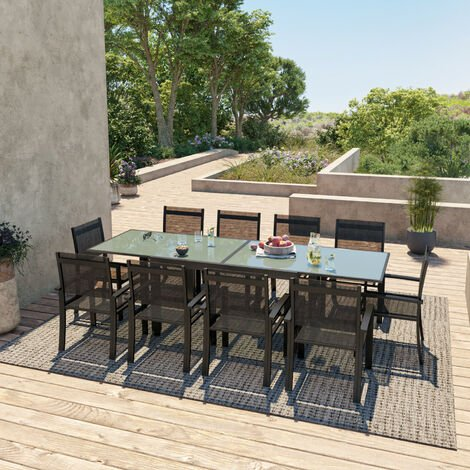 HARA XL - Table de jardin extensible aluminium 140/280cm + 10 ...