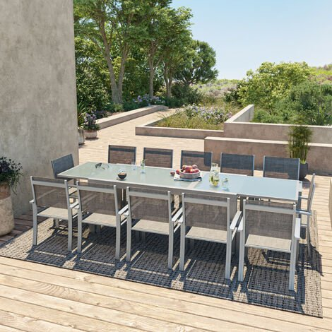 HARA XXL - Table de jardin extensible aluminium 200/320cm + 12 ...