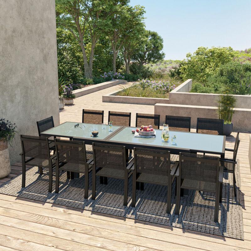 HARA XXL - Table de jardin extensible aluminium 200/320cm + 12 fauteuils  textilène Noir
