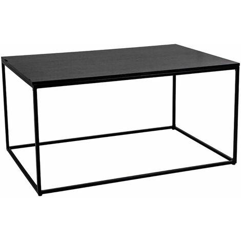 """main image of """"HARALD - Table Basse Acier et Plateau Bois Noir - Noir"""""""