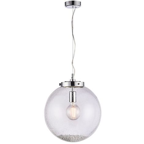 Harbour 1 Light Ceiling Pendant Single Satin Nickel Effect Plate & Clear Glass