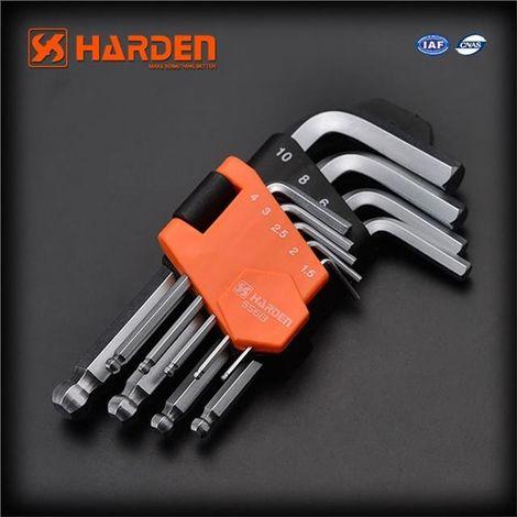 HARDEN short allen keys set 9 pcs, ball tip, strong CrV steel, 1.5-10mm