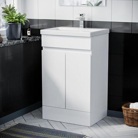 """main image of """"Hardie 500mm White Vanity Cabinet and Basin Sink Unit Bathroom Floor Standing"""""""