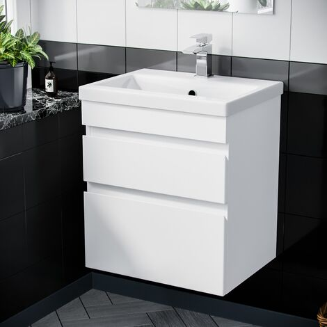 """main image of """"Hardie 600mm 2 Drawer White Wall Hung Vanity Cabinet and Basin Sink Unit"""""""
