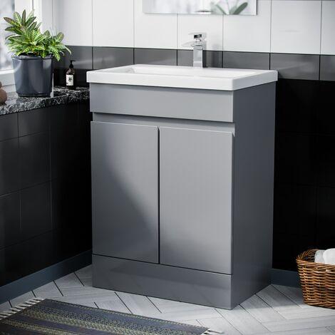 Hardie 600mm Light Grey Vanity Cabinet and Basin Sink Unit Bathroom Floor Standing