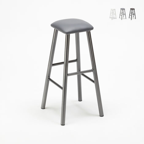 HARDNESS Industrial Tolix Wooden Stool with Leather Cushion Bar Venue
