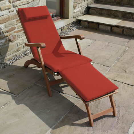 Hardwood Steamer Sun Lounger Chair + Red Cushion + Free  Side Table