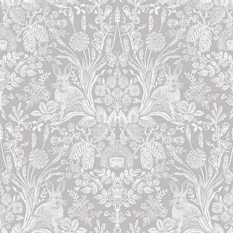 Harlen Woodland Damask Wallpaper Grey Holden 90160