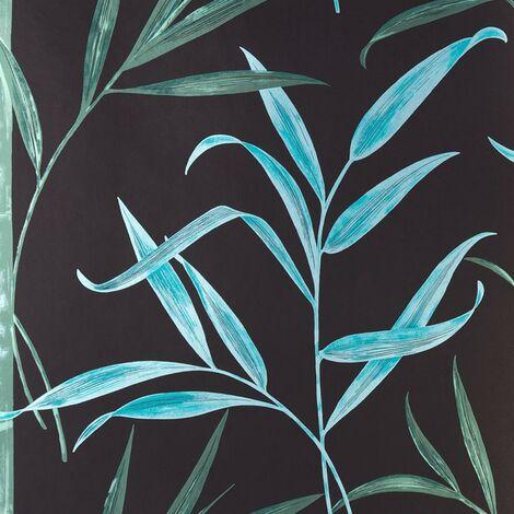 Harlequin Enlighten Wallpaper Bamboo Leaf Botanical Teal Green Black Metallic