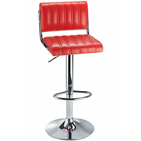 Harlsom Retro Bar Stool With Adjustable Height Soft Padded Seat Back Rest Various Colour Options