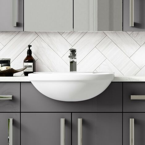 Harmony 500mm Semi Recessed Counter Top Basin - 1 Tap Hole
