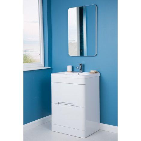 Harmony White 600mm Vanity Unit Basin with FREE LED Mirror