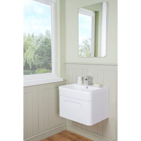 Harmony White 600mm Wall Hung Single Drawer Vanity Unit & Basin with FREE LED Mirror