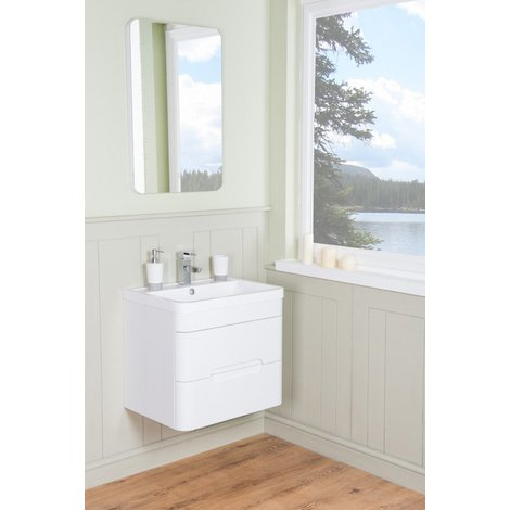 Harmony White 600mm Wall Hung Vanity Unit & Basin with FREE LED Mirror