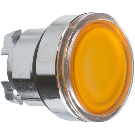 Harmony XB4 - tête poussoir lumineux LED affleurant - lisse - Ø22 - orange - ZB4BW353