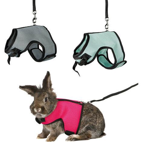 """main image of """"Harnais doux avec laisse 1.2 m, pour lapins nains. couleur aléatoire."""""""